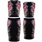 Women's Bodycon 2 Piece Set Ladies Side Floral Stretch Crop Top and Pencil Skirt