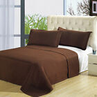 Luxury Brown Checkered Quilted Wrinkle Free Microfiber 3pc Coverlet Bedspread