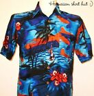 NEW MENS HAWAIIAN SHIRT -  .Dark Blue Palm - party, stag,beach, style, XS,S,M