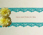 """Lace Trim Turquoise 2 Yards Vintage 3/8"""" Floral Fabric M54AV More Ship Free BT2Y"""