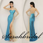 Blue Side Slit Sequins Bodycon Long Sleeves Party Prom Gowns Dresses In Stock