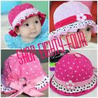 Baby Girls Bucket Bonnet Infant Hat Hats Adjustable Summer Pink flower