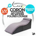 PE Wicker Sun Bed Outdoor Furniture Sofa Folded Lounge Daybed Patio with Cushion