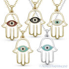 Hamsa Hand of Fatima Evil Eye Nazar Luck Charm Pendant Judaica Kabbalah Necklace