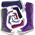 Woman Canvas Mid Calf Tall Boots Casual Sneaker Punk Flat Smokey Purple Shoelace