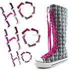 Woman Canvas Mid Calf Tall Boots Casual Sneaker Punk Flat Cool Magenta Shoelace