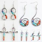 Infinitely Egyptian Ankn Spiral Gemstone 7 Chakra Stone Drop Dangle Hook Earring