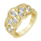 14K Gold Plated GP 925 Sterling Silver Round Cut White CZ Beautiful Band Ring