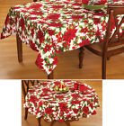 Collections Etc Christmas Poinsettia Kitchen Tablecloth Linen