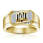 """Exaggerated 10K Gold Plated 925 Silver 0.12CTW American Diamond Men's """"DAD"""" Ring"""