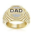 """Father's Day Special Black Enamel 14K Gold Over 925 Silver Wonderful """"DAD"""" Ring"""