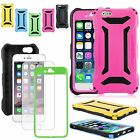 "For Apple iPhone 6 4.7"" / 6 Plus 5.5"" Armour+ Hard Soft Case + Tempered Glass SP"