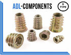 M4 M5 M6 M8 M10 THREADED HEX DRIVE FIXING TYPE D WOOD INSERT NUTS (ALL SIZES)