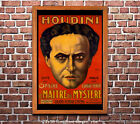Houdini - Vintage Theatre Advertisement Poster [6 sizes, matte+glossy avail]
