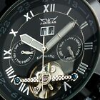 Mans Silver Black Mechanical Automatic Date Day Tourbillon Army Mens Sport Watch