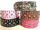 Rounded Studs PU Leather Dog Collar 4 Large, XL Dog, Pink, Black, Camouflage