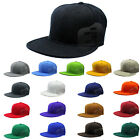 Fitted Baseball Cap Flat Bill Plain Solid Canvas Mens Womens Unisex Black