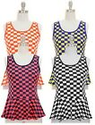 NWT Women Sleeveless Scoop Neck Peplum Knit Top Checker Print by Jon & Anna S-XL