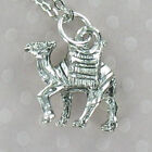 Camel Pewter on Rhodium Plated Cable Chain Desert India Saudi Arabia Ride
