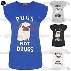 Womens Ladies Pugs Not Drugs Heart Print Short Turn Up Cap Sleeve T Shirt Tops