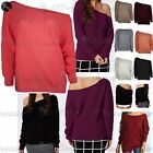 Womens Ladies Off The Shoulder Chunky Knitted Oversized Baggy Sweater Jumper Top