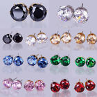 Fashion Jewelry 8mm Cubic Round Zirconia Crystal CZ Earrings Studs