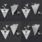 Jewish Hamsa Evil Eye Triangle Dangle Stud Pierced Ear Silver Earrings Jewelry