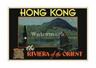 Hong Kong - Riviera of the Orient - Reproduction Vintage Travel Poster