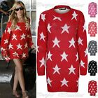Womens Ladies Celebrity Seeing Stars Print Knitted Oversize Sweater Jumper Dress