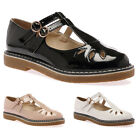 WOMENS T-BAR CUT OUT LADIES DOUBLE BUCKLE OFFICE SMART FLATS SHOES SIZE 3-8