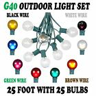 25 Foot G40 Outdoor Globe Patio String Lights -Set of 25 G40 Bulbs- All Colors