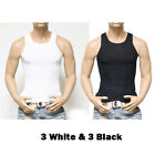 3 6 PACK Men Black Tank Top Cotton A-Shirt Wife Beater Ribbed GYM Undershirt Tee