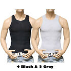 3, 6 PACK Men Tank Top T-Shirt  Cotton A-Shirt Wife Beater Ribbed GYM Undershirt