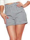 Bettie Page Hot Time Shorts - Navy Gingham