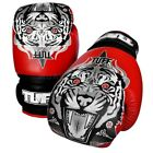 Tuff Muay Thai Boxing Gloves MMA Tiger Red Kick Boxing Leather Free DVD