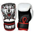 Tuff Muay Thai Boxing Gloves MMA Wolf White Kick Boxing Leather Free DVD