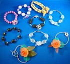 "8"" Lucite Flower/Crystal/925 Sterling Silver Bead Handmade Bracelet-Pick A Color"