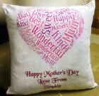 PERSONALISED Mother's Day MUM MUMMY CUSHION Heart Word Art ADD YOUR OWN MESSAGE