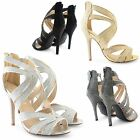 NEW WOMENS LADIES PEEP TOE HEEL SANDALS ANKLE STRAPPY GLITZY SHOES SIZE