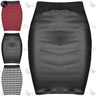 Womens Ladies Dogtooth Printed PVC Stretchy Bodycon Short Mini Skirt Plus Size