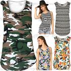 New Womens Ladies Camouflage Army Printed Sleeveless Vest T Shirt Top Plus Size