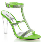 Clear Green Rhinestones Prom Heels Pageant Bridesmaid Shoes size 5 6 7 8 9 10 11