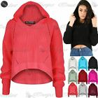 Womens Ladies Chunky Cable Knitted Stretchy High Low Hood Hoodie Hooded Crop Top