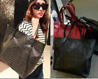 New Fashion Korean Women's Crocodile Handbag Purse Big Leather Tote Shoulder Bag