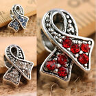 Crystal Rhinestone Ribbons Awareness Big Hole Beads Fit European Charms Bracelet