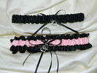 Black and Pink Garter Set Wedding Prom INCLUDES Tossing Garter & Charm