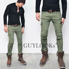 Pre Washed Mens Slim Skinny Fit Zippered Cotton Khaki Biker Cargo Pants Guylook