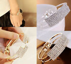 Women Fashion Elegant Wristband Bangle Crystal Cuff Bracelet Bling Hand JW077