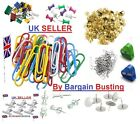 Quality Assorted Mix Coloured Plain Paper Clips Drawing Pins Foldback Clips