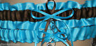 Turquoise and Brown Wedding Garter Set Satin INCLUDES Tossing Garter &Charm